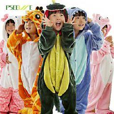 Children's pajamas Winter Flannel Animal pajamas one piece Totoro /Stitch /Panda /dinosaur /Pikachu Bbay Boys girls pyjamas kids