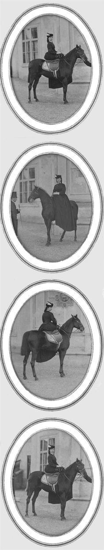 Sisi on horse Veronica, photo's pris vers 1870, dans la cour de la Hofburg.