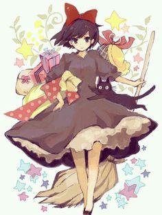 like my favorite ghibli movie Hayao Miyazaki, Totoro, Griffonnages Kawaii, Anime Kawaii, Kiki Delivery, Kiki's Delivery Service, Special Delivery, Studio Ghibli Art, Studio Ghibli Movies