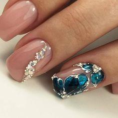 Elegant Gel Nail Art Designs for 2018 Gel Nails Gel Nail Art Designs, French Manicure Designs, Fall Nail Designs, New Year's Nails, Hair And Nails, Cute Nails, Pretty Nails, Gel Nagel Design, Manicure Colors