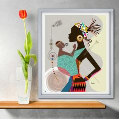 Mother and Child Art Black Woman Poster Mums Birthday Gift Mum Birthday Gift, Mother Birthday, African Paintings, Women Poster, Office Prints, Dachshund Gifts, African American Art, Mother And Child, Pet Gifts