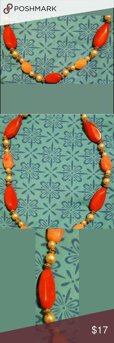 LOVELY Vintage Retro Faux Pearl Org Coral Choker All reasonable offers will be considered.  You will receive a preowned Pretty Vintage Faux Pearl Orange Coral Plastic type Beads silvertone Necklace.  LOVELY on!!!  It is approximately 20 inches. It is in Good condition. Jewelry Necklaces