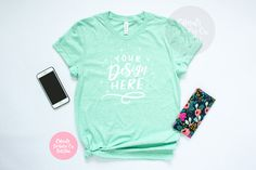 Bella Canvas 3001 Heather Prism Mint Unisex T-Shirt Mockup - Summer Styled Photography for iPad Lettering and SVG Files , Mint Shirt, Flatlay Styling, Shirt Mockup, Bella Canvas, Hand Lettering, Your Design, Fashion Photography, Unisex, Ipad