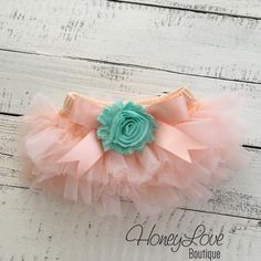 Peach tutu skirt bloomers diaper cover embellished mint/aqua shabby flower, ruffles all around, newborn infant toddler little baby girl by HoneyLove Boutique
