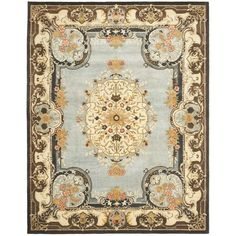 Safavieh Handmade Bliss Light Blue/ Ivory Hand-spun Wool Rug (9'6 x 13'6)