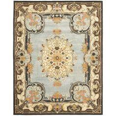 Safavieh Handmade Bliss Light Blue/ Ivory Hand-spun Wool Rug (9'6 x 13'6)