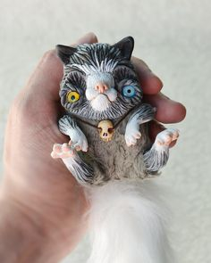 Tiny Gray White Grumpy Cat OOAK Art Doll with Skull by Ermellin