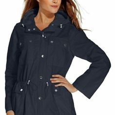 Womans micheal kors jacket ****Final reduction****NWT WOMANS micheal kors navy blue jacket. Lightweight cotton. Hardware is gold not silver as pictured. MICHAEL Michael Kors Jackets & Coats Trench Coats