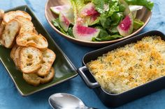 """Brandade—called """"brandade de morue"""" in French, or """"brandada de bacalao"""" in Spanish—is a staple of Mediterranean comfort food. It's traditionally made with dried salt cod and mashed potatoes, baked gratin-style with garlic and olive oil for a deliciously creamy interior and crispy crust. In our version, we're pan-searing cod fillets, then flaking them into pieces. On the side, we're serving garlic toasts and a salad made with gorgeous, mildly peppery watermelon radish (an heirloom variety…"""