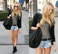 Gray Cami + Black Blazer + Denim Cut Off Shorts + Black Belt + Black Blazer | #summer #fashion #style