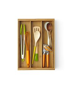 Divide and Conquer You wouldn't just dump forks and spoons in a drawer without dividers, so why are cooking utensils and gadgets allowed to be in a jumble? Choose a drawer for tools you use the most, then add a basic organizer, like the Expandable Bamboo Utensil Tray ($29.99; BedBathandBeyond.com), to keep clunky whisks and can openers from getting caught on each other. Junk Begone! Setting up a place for miscellaneous items is a good idea—until it fills up with stuff that really has a home…