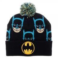 DC Comics Batman Faces All Over Print Cuff Pom Beanie Hat Knit Cap Retro Logo for sale online Knit Beanie, Beanie Hats, Mens Winter Beanies, Funny Toys, Batman Logo, Caps Hats, Dc Comics, Knitted Hats, Retro