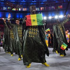 Members of the Senegal delegation enter the stadium during the opening ceremony of the Rio 2016 Olympic Games at the Maracana…