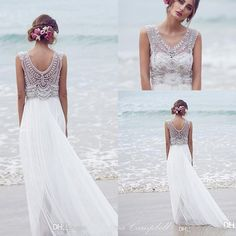 Anna Campbell 2016 New A Line Wedding Dresses Crystal Beaded V Neck Chiffon Summer Beach Wedding Gowns Floor Length Boho Custom Bridal Dress Ball Gowns Cheap Beautiful Wedding Gowns From Haiyan4419, $169.85| Dhgate.Com