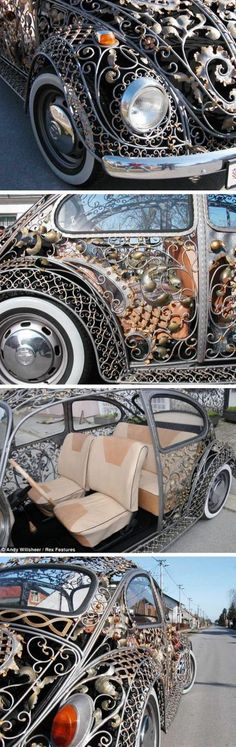 Croatian Metalwork on a VW Beetle. This looks like something a somewhat modern day Cinderella would go to the ball in. This is really cool!