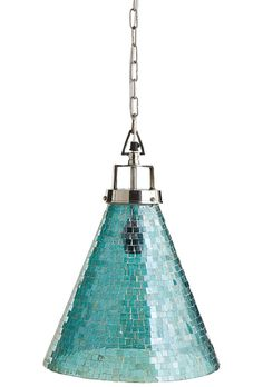 This Oceans Mosaic Pendant Light reflects layers upon layers of rich light, thanks to hundreds of tiny aqua tesserae that were placed by hand. All hardware is included. $129. Buy here.