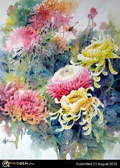Цветы акварелью, урок от Lian Zhen - Форум о компьютерной графике ART-Talk.ru