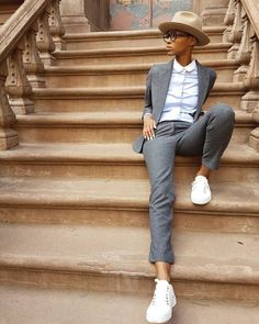 """dapperq: """" continues celebrating 100 days of Black queer style excellence. Pictured here: wearing @ : dapperq: """" continues celebrating 100 days of Black queer style excellence. Queer Fashion, Tomboy Fashion, Look Fashion, Urban Fashion, Fashion Styles, Butch Fashion, Tomboy Outfits, Girl Outfits, Fashion Outfits"""