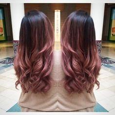 Image result for rose gold highlights on dark hair