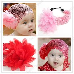 New Lovely Cute Baby Girls Infant Lace Flower Headband Hairband Christening Red/Pink