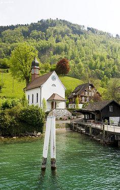 Sights While Sailing on Lake Lucerne, Switzerland