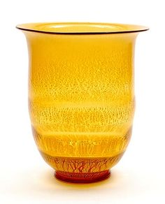 Amber glass Serica vase No.19 with crackle design A.D.Copier 1930-'31 executed Glasfabriek Leerdam / the Netherlands