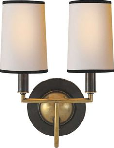 "elkins double sconce  Thomas O'Brien    OVERVIEW  Height: 13 1/4""   Width: 9 1/2""  Backplate: 5 1/2"" Round  Extension: 8 3/4""  Shade Size: 3 1/2"" x 4"" x 6""  Wattage: 2 - 40 Watt Type B  Socket: Candelabra     price	$336.00"