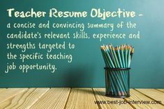 Your teaching resume objective is key to getting your resume noticed. How to write a professional and persuasive resume objective statement that takes your teacher job application to the next level. Elementary Teacher Resume, Preschool Teacher Resume, Teaching Resume, Teaching Jobs, Resume Objective Sample, Resume Objective Statement, Teacher Interview Questions, Teaching Interview