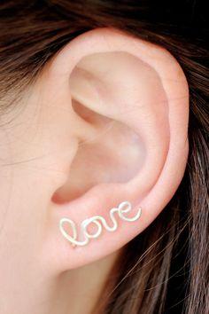 Love Earrings : Sterling Silver Plated Love Stud Earrings, Cartilage, Pair, Word, Handwritten, Cursive, Affirmation, Ear Cuff. $32.00, via Etsy.