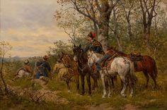 LUDWIK GĘDŁEK (1847 - 1904)  ZASADZKA   olej, deska, / 20,8 x 32 cm  sygn. p.d.: L. Gędłek/ Wien