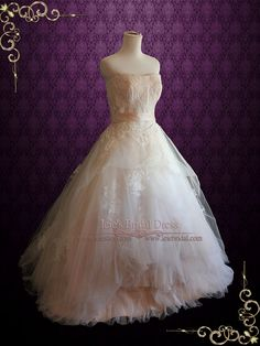 Whimsical Strapless Lace Ball Gown Wedding Dress | Eliza | Ieie's Bridal Wedding Dress Boutique