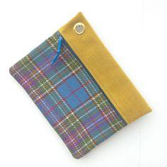 Genuine Manx Tweed Woven in Isle of Man - Zipped Clutch Case Tartan Blue Gold by didyoumakeityourself on Etsy