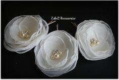 White Ivory Flower Hair Clip Bridal Hair Flower Wedding Hair Accessories Bridesmaid Hair Piece Bridal Headpiece Wedding Flowers for Hair