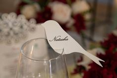 Ivory textured bird cut-out glass topper place-card. Styling by Jani Venter. Photo by Rikki Hibbert. Wedding Stationery, Wedding Invitations, Order Of Service, Booklet, Poppy, Rsvp, Place Cards, Seeds, Ivory