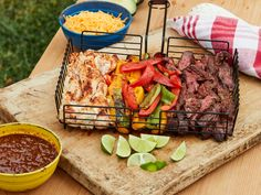 Fajitas in a Grill Basket by Food Network Kitchen Pork Chop Recipes, Grilling Recipes, Cooking Recipes, Food Dishes, Main Dishes, Side Dishes, Cleaning Baking Sheets, Grill Basket, Thing 1