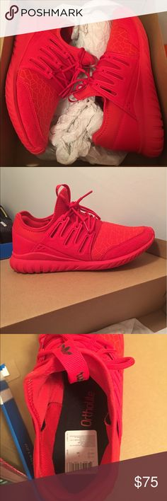 Adidas Tubular Radial J Brand New Adidas Tubular Radial tennis shoes with tags. All red shoes with ortho insoles. Size 7, runs big. Wore once. adidas Shoes Sneakers