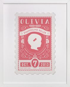 The Little Miss, a custom art print with baby stats. Designed by Tanya Lee   Frooted Design, available exclusively at minted.  #frooted #babystats #art #stamp #babygirl