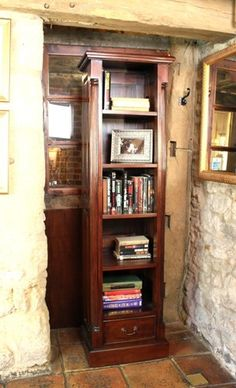 la roque narrow alcove bookcase imr01c atlas chunky oak hidden home office