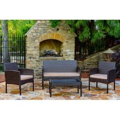 Tessio 4 Piece Rattan Sofa Seating Group with Cushions - B back deck - Design Rattan Furniture Patio Furniture For Sale, Outdoor Furniture Sets, Foyers, Outdoor Sofa, Outdoor Living, Outdoor Decor, Outdoor Spaces, Cabanas, Places