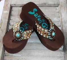 d0d41038925d Brown Flip Flops with Turquoise and Bronze Crystals by Safari Girl
