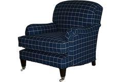 Somerset Chair, Navy on OneKingsLane.com. Love! this plush, welcoming fauteuil !!