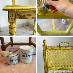 chippy look - Chalk Paint decorative paint by Annie Sloan English Yellow / farby Annie Sloan Chalk Paint English Yellow / anniesloanpoland / oldnewstyle.com / krzesło