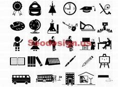 Free Icons - School Black White Icons Set #icons #iconset #school