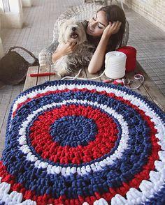 Items similar to Crochet round rug with openwork in red, dark blue and white. 90 cm in diameter. on Etsy Crochet Mat, Crochet Carpet, Love Crochet, Beautiful Crochet, Crochet Doilies, Crochet Round, Cotton Cord, Knit Rug, Crochet T Shirts