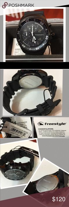 "Freestyle Hammerhead Watch BRAND NEW IN BOX The Hammerhead, Freestyles original and bestselling dive watch. The Hammerhead is a 3-hand quartz analog watch with a 1.77"" (45 mm) stainless steel case and a durable polyurethane wrist band. The watch is equipped with a one-way ratcheting timing bezel that assures you won't short your dive time only increase if turned by mistake.For safety and water resistance watch has an O-ring sealed screw down crown making it water resistant to 656' (200…"