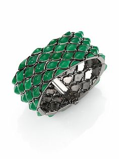 Stephen Webster - Green Jade & Blackened Sterling Silver Three-Row Scale Bracelet - Saks.com