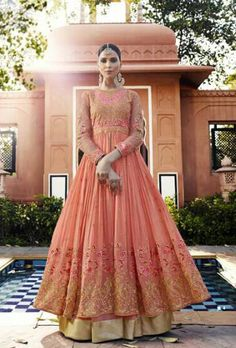 Light Pink Embroidered Royal Georgette Lehenga features a gorgeous royal georgette top alongside a santoon inner and net ghagra. A chiffon dupatta completes the look. Embroidery work is completed with zari and thread. Salwar Suits Online, Designer Salwar Suits, Designer Anarkali, Anarkali Lehenga, Anarkali Suits, Indian Dresses, Indian Outfits, Simple Anarkali, Floor Length Anarkali