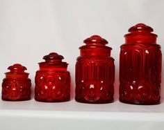 vintage ruby moon amp star depression glass set red canister with rooster lid home Red Canisters, Vintage Canisters, Kitchen Canister Sets, Vintage Dishes, Vintage Glassware, Vintage Kitchen, Red Kitchen, Glass Kitchen, Kitchen Tips