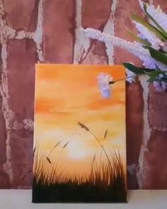 Sunrise Painting, Summer Painting, Sunrise Drawing, Painting Clouds, Simple Acrylic Paintings, Acrylic Painting Canvas, Butterfly Acrylic Painting, Multiple Canvas Paintings, Acrilic Paintings