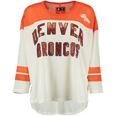 Women's Cream Denver Broncos Hail Mary 3/4 Sleeve T-Shirt  -